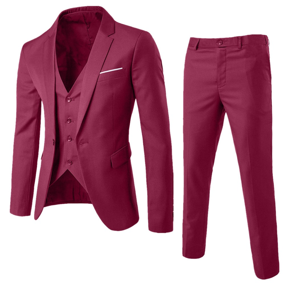 3 Piece Men's Blazer Suit For Wedding Slim Fit (Jacket+PanOffice Groom Party Jacket Costumes Korea Men Suit With Pants Vest 3XL