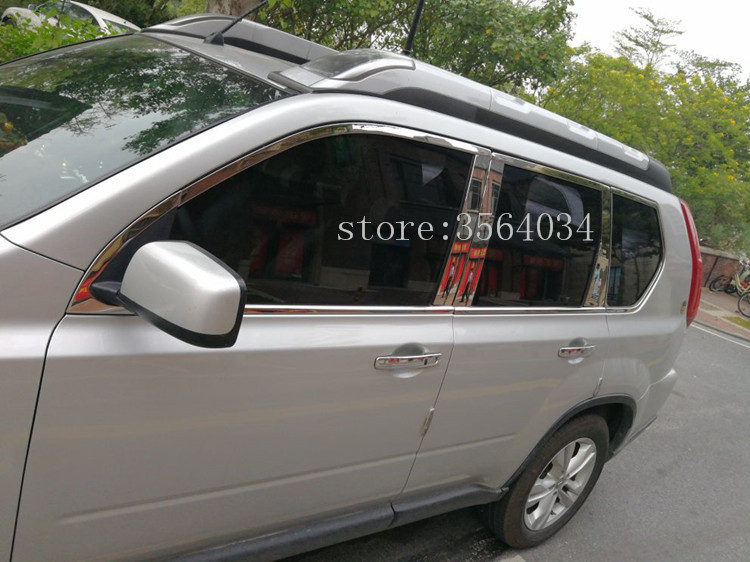 24pcs Fit For nissan x-trail t31 Stainless Steel side Window Molding Trim Cover 2008 2009 2010 2011 2012 2013 Auto Accessories