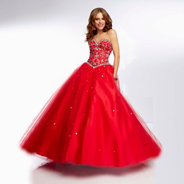 191db20f8ddf Charming Red White Ball Gown Quinceanera Dresses 2017 Cheap Sweetheart  Corset 15 Years Prom Gowns with