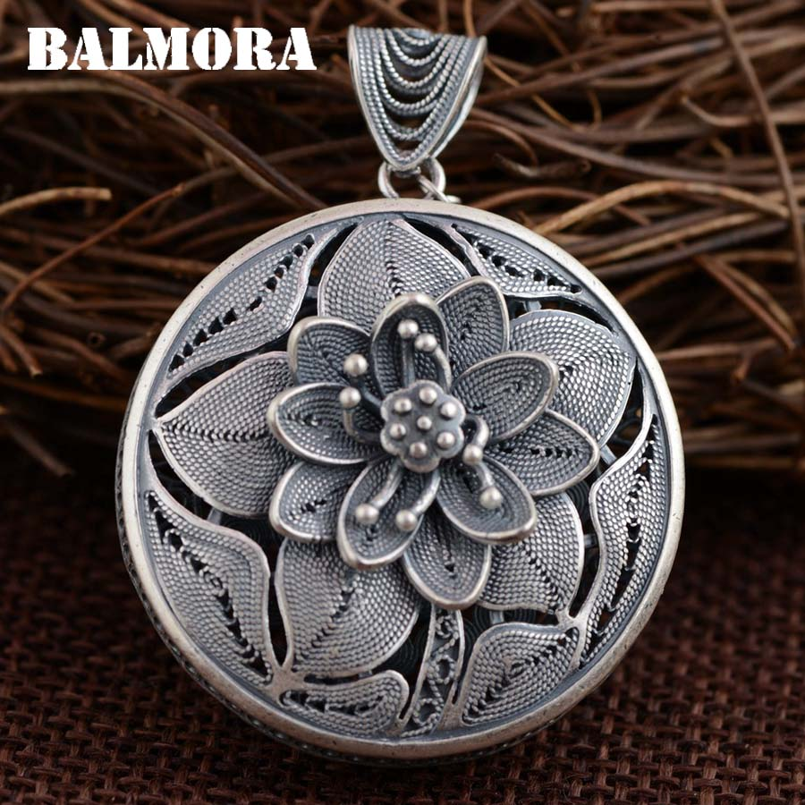 BALMORA 100% Real 990 Pure Silver Vintage Flower Pendants for Women Mother Gifts Thai Silver Jewelry Without a Chain SY13304