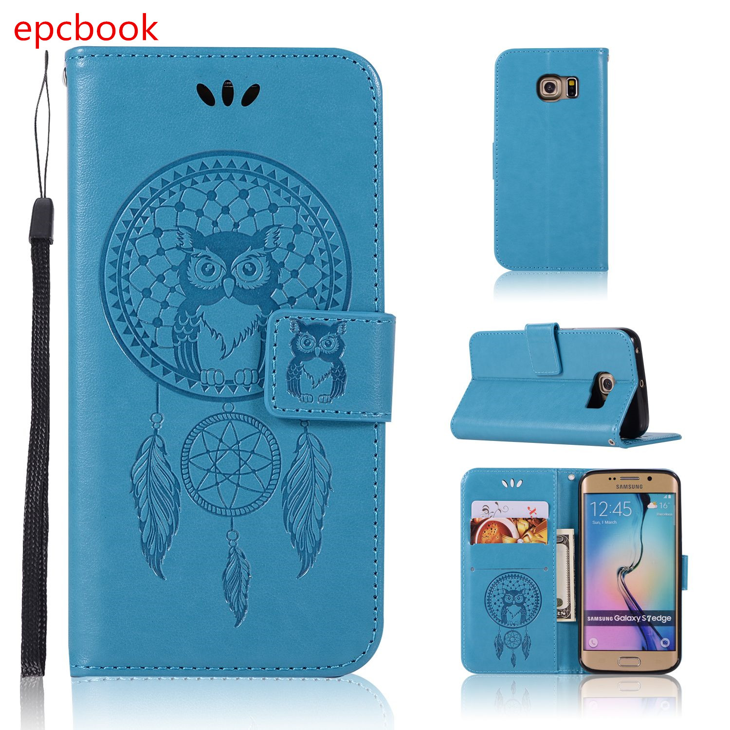 epcbook cute leather Wallet Case For Sumsung Galaxy s6edge s6 note8 Case For Galaxy S7edge s7 owl Luxury Flip Phone Cover shell