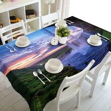 цена на Custom 3D Tablecloth Waterfall Green landscape Pattern Waterproof Washing cloth Thicken Rectangular Wedding table cloth Textile