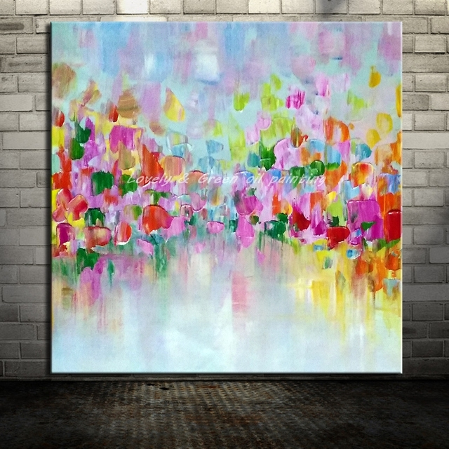 Frameless Hand Painted Colored Squares Oil Painting On Canvas Modern Abstract  Wall Art Pictures For Living