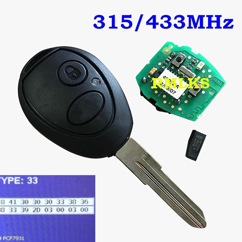Methodisch 2 Button Remote Key Fob 315 Mhz 433 Mhz Id73 Fit Für Land Rover Discovery 2 Fcc Id: N5fvaltx3 Uncut Klinge SchöNe Lustre