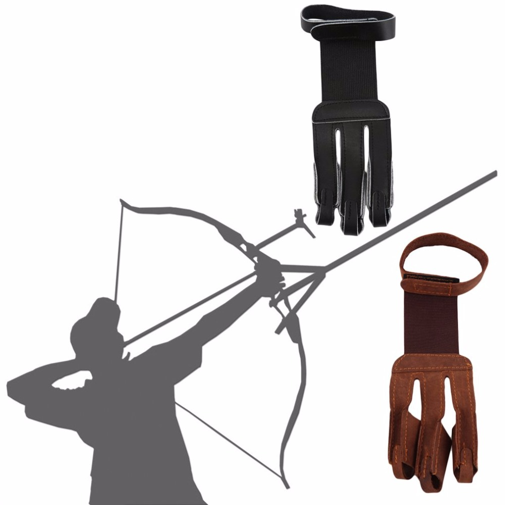 Archery Protect Glove 3 Fingers Tip Pull Bow Arrow Leather Hunting Shooting Gloves Protector Finger Guard Protect