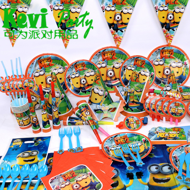 90pcsNew Minions Despicable Me Theme Party Luxury kids birthday decoration plates cups straws napkins party Supplies