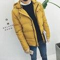 Hot 2016 hombres abrigo de invierno Con Capucha chaqueta acolchada Delgado, más fertilizantes aumentar el código corto de los hombres chaqueta gruesa de algodón chaqueta de algodón acolchado
