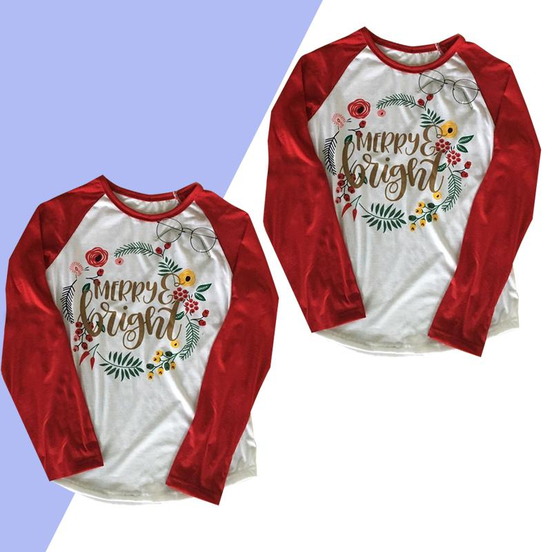 2018 Women MERRY Bright Christmas Letter Printed Long Sleeve O-Neck Casual T-Shirt Fashion Splicing Patch Late Summer Season