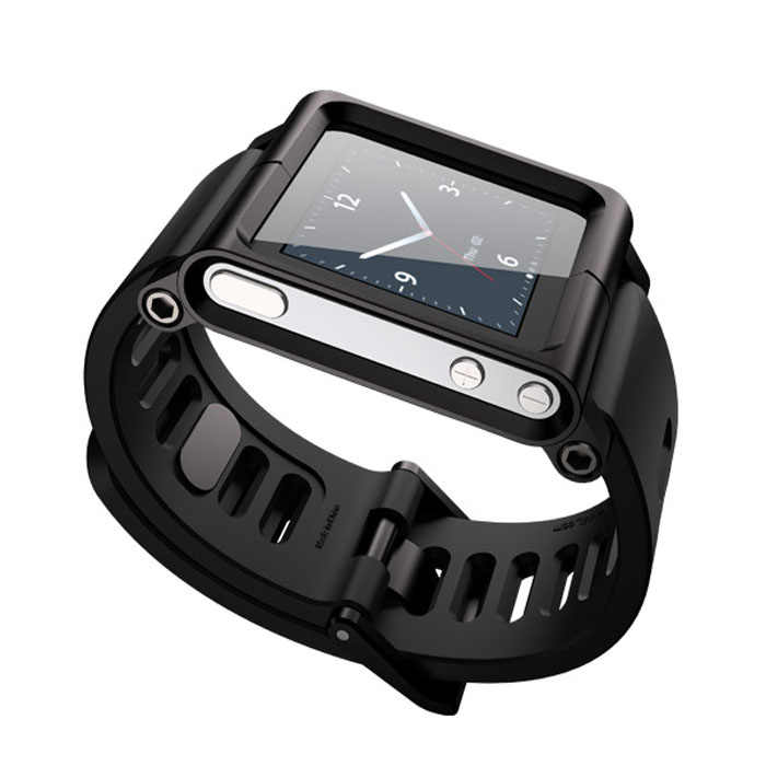 Smartwatch Tali Smart Watch Smartband Hitam Aluminium Campuran Silicone Multi-Touch Watch Band untuk IPod Nano 6/6th tali Gelang
