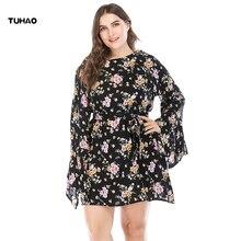 TUHAO 2018 Autumn Winter Big Size 5XL 4XL 3XL Women Dress Casual Floral Print Long Sleeve Vintage 50s 60s Party Dresses CM71