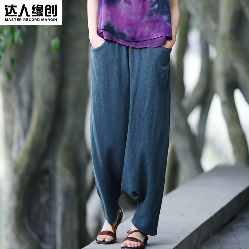 2015 spring product launches, original design 65% linen 35% cotton loose womens big yards haroun pants