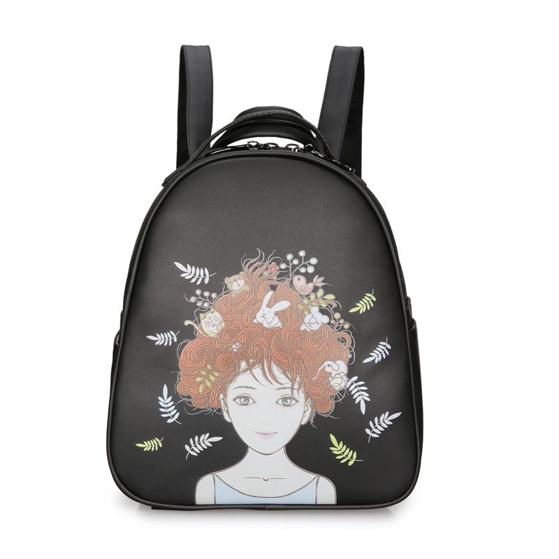 MengHuo Waterproof PU Leather Backpack Women Bagpack Painting Preppy School Bag for Teenage Girls mochila feminina