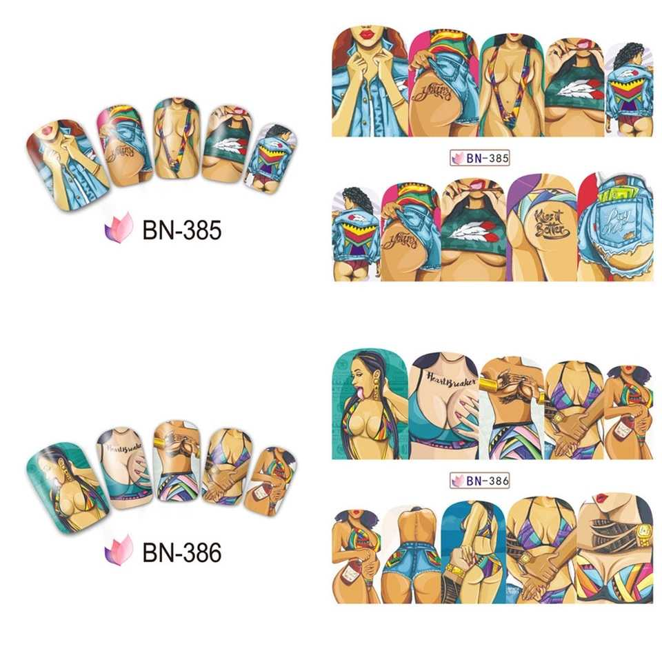 1 set 12 nail designs full cover water transfer sticker fashion sexy cute designs slider cool