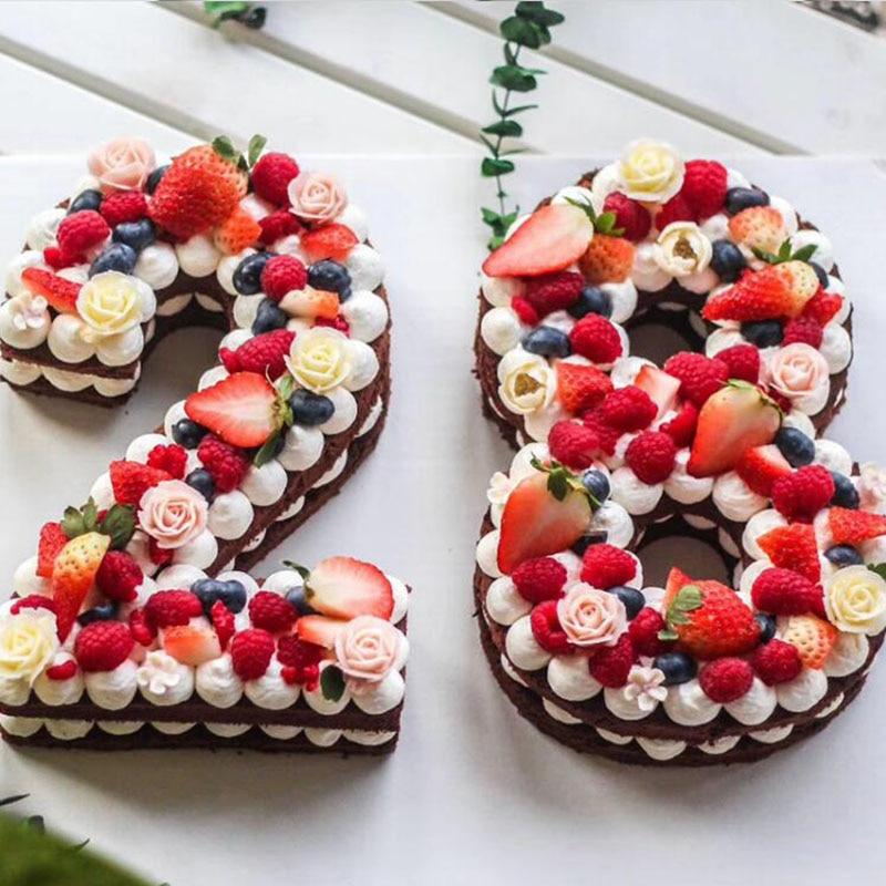 케이크에 대한 금형 플라스틱 알파벳 번호 케이크 금형 금형 케이크 장식 퐁당 도구 웨딩 생일 베이킹 케이크 액세서리