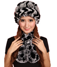 H311- Floral women's winter hat,6 colors natural rex rabbit fur scarf, soft hand knitted warm autumn fur  beanie and muffler