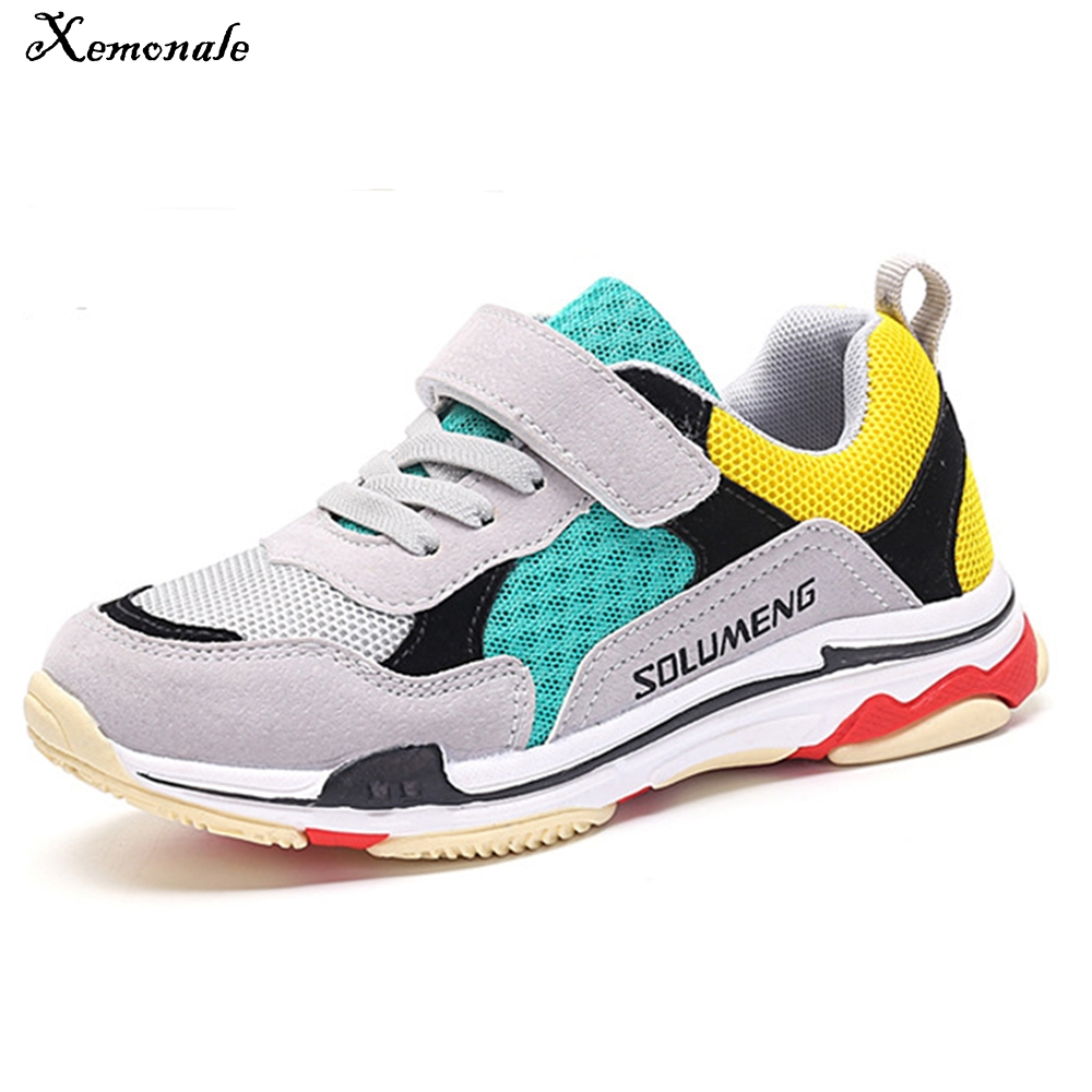 Xemonale Children Shoes For Girls Flat Running Kids Sneakers Boys Breathable Mesh Tennis Sneakers Soft Leather Sport Shoes 2018