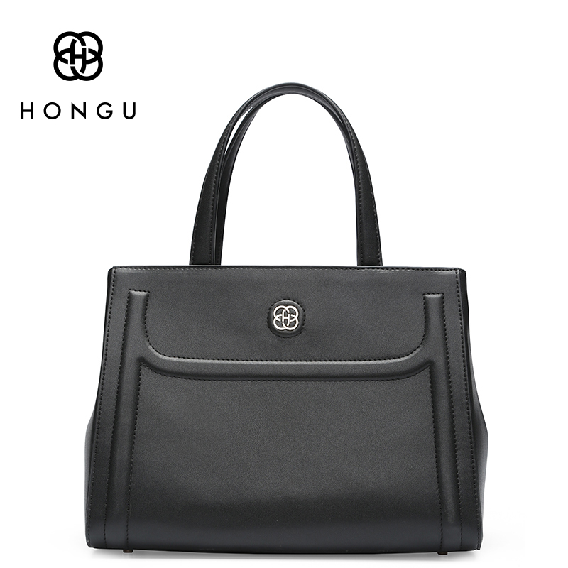 HONGU Cowhide Messenger Tote Female Bag 2017 New Fashion Simple Genuine Leather Women Bag European And American Style Handbags E dtbg pu leather women handbag fashion european and american style totes messenger bag original design briefcase zipper 2017