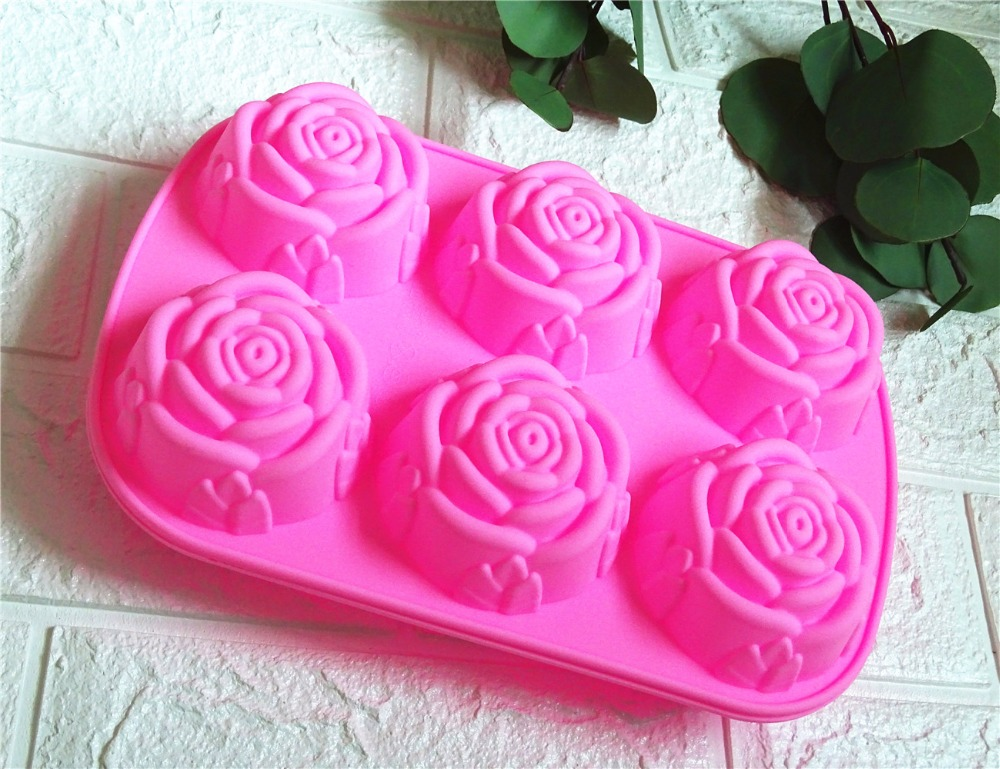Soap Making 6 Roses Silicone Cake Mould Ice Cream Pudding Jelly Mould Soap Products Production Mold Good Ductility Baking Tool