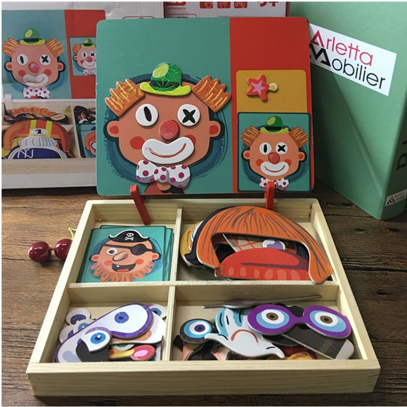 Magnetic Puzzle Wood Toy Wooden Puzzles For Kids Early Learning Educational Toys Cognitive Pretend Play Board Game Children Gift children s early childhood educational toys the bear change clothes play toys creative wooden jigsaw puzzle girls toys