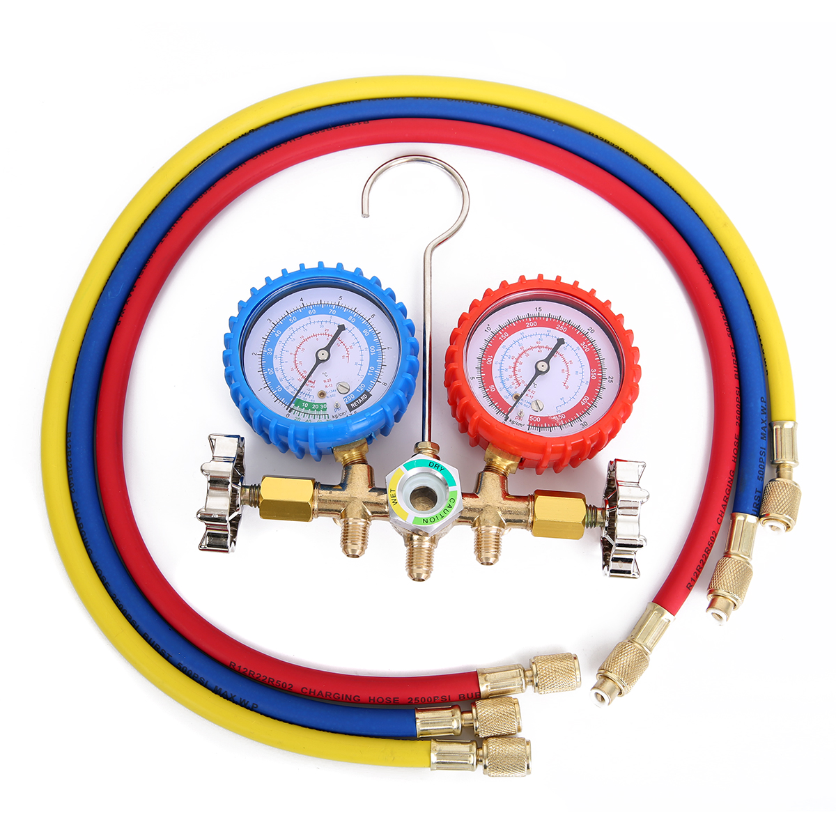 1pc Alloy Manifold Gauge Durable Pressure Gauges With Valve For Air Condition Refrigeration Maintenance by dhl 1pc digital manifold gauge vdg s1 digital refrigerant table pressure gauges dial diameter