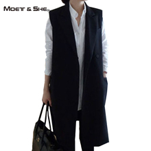 Spring New Fashion Women Long PocketS Formal Coat Office Lady Sleeveless Polo Female Black Waistcoat Blazer Jackets C6O0319H