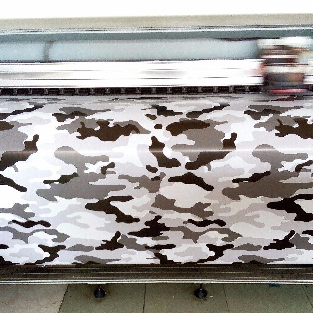 5cc3d0ab3899 Pequeña impresión blanco negro gris CAMO vinilo urdimbre coche con Air  release Arctic nieve camuflaje cubre coche decalques hoja 1.52x30 m rollo  en de en ...