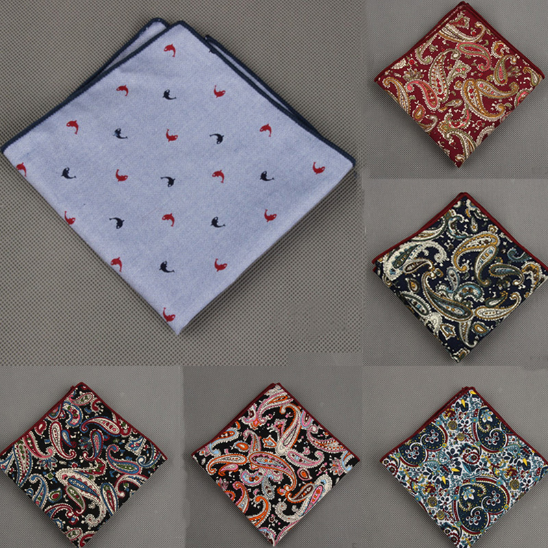 Cotton Printing Men's Suit Pocket Towel Handkerchief Fashion Prints Men Formal Wear Business Small Square Hanky