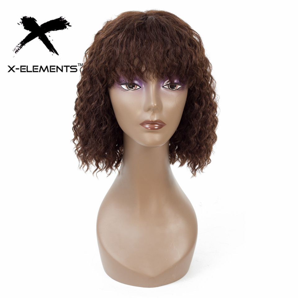 Deep Wave Human Hair Wig With Bangs Brazilian Remy 100% Human Hair Wigs 2+4 Color Hair Wig No Smell Short Bob Wig  X-Elements
