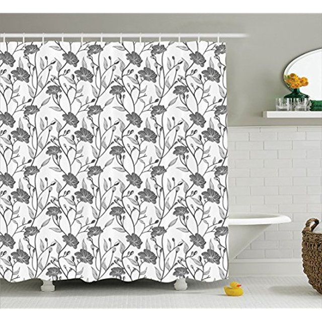 Vixm Grey Decor Shower Curtain Modern Graphic Of Flowers And Branches Simple Pure Light Chic Boho
