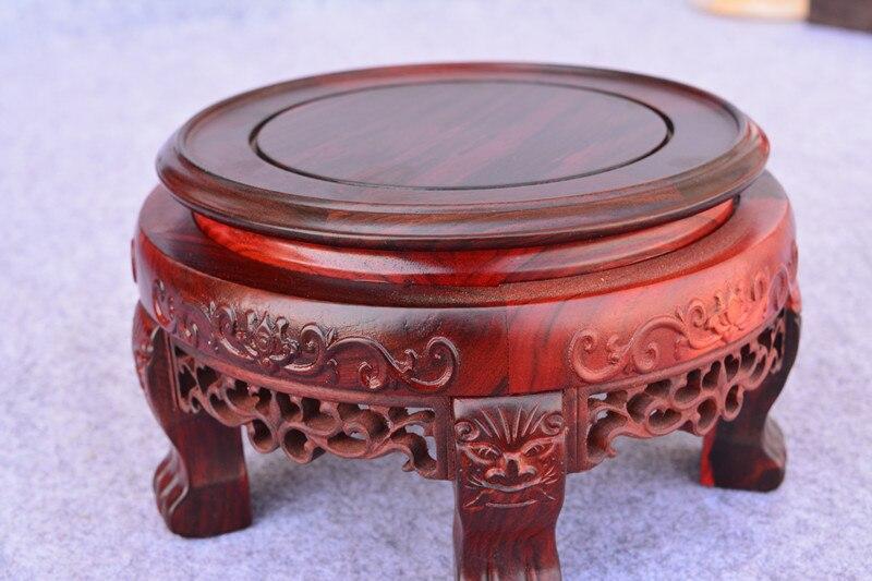 Rouge sculpture sur bois palissandre base circulaire impair tigre pied jade vase artisanat ornements réservoir de poisson stand bonsaï base