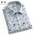 Langmeng 2016 nova camisa dos homens de manga curta marca casual clothing impressão floral camisa camisa masculina slim fit camisas de vestido