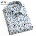 Langmeng 2016 nuevos hombres camisa de manga corta camisa masculina de impresión floral camisa casual brand clothing dress slim fit camisas