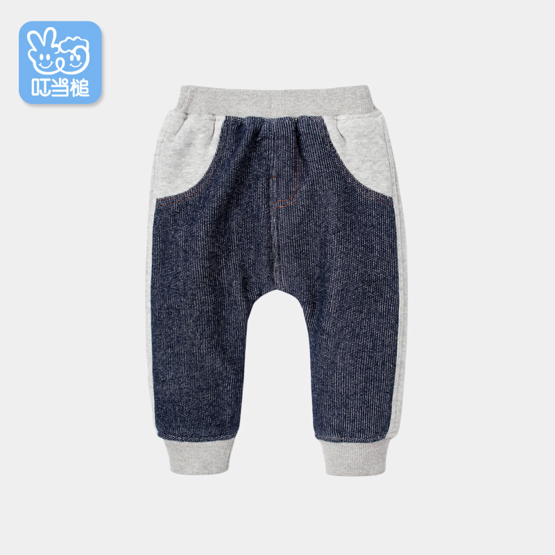 Kids Baby Boys Girl Denim Washed Jeans Winter Fleece Casual Pants Thick Trousers