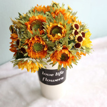 27cm Yellow Simulation Silk Sunflower Decorative Flowers Bouquet Artificial Flower Arrangement DIY Party Home Garden Decoration