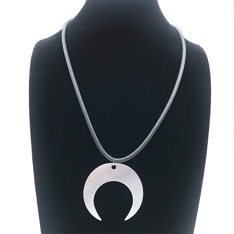 Купить с кэшбэком YD&YDBZ 2019 Summer New Moon Pendant Necklace For Women Rubber Layering Choker Handmade Necklaces Black Chains Dress Accessories