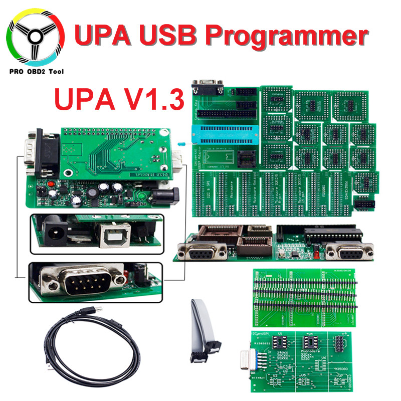 UPA Latest V1.3 USB Serial Programmer Green PCB Adapter Full Set UPA 1.3 ECU Chip Tuning Tool UUPROG EEPROM With Full 20 Chips