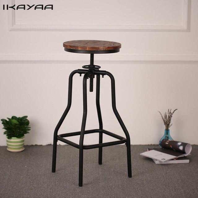 Ikayaa altura ajustable giratorio taburete natural Pinewood Top ...
