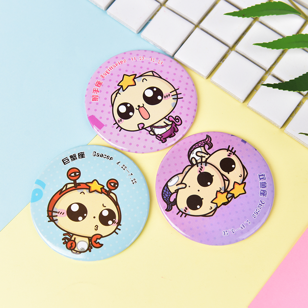 Dia 7cm Pocket Makeup Mirror Cartoon Cosmetic Mini Mirror Girls Gift Beauty Round Mirrors