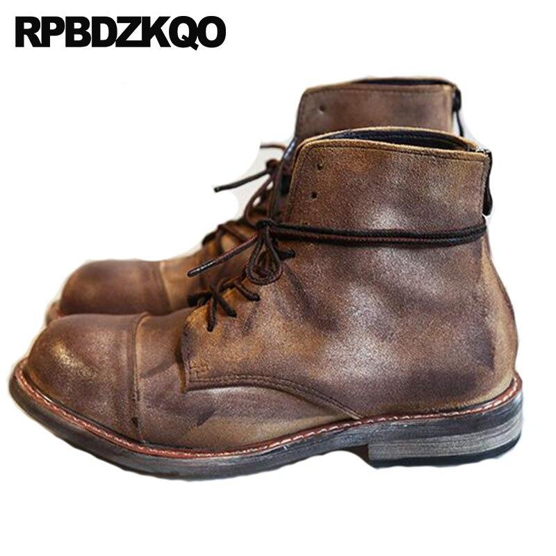 2018 Ретро Сапоги Combat коричневый Мужская обувь на шнуровке круглый носок военные полный зерна пинетки осень армейские ботильоны из натуральн