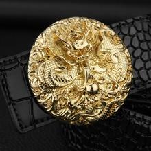 [K]Chinese Dragon buckle Exquisite designer belts fancy vintage Loong male sash Luxo Crocodile cowhide Waist Strap cinto hombre
