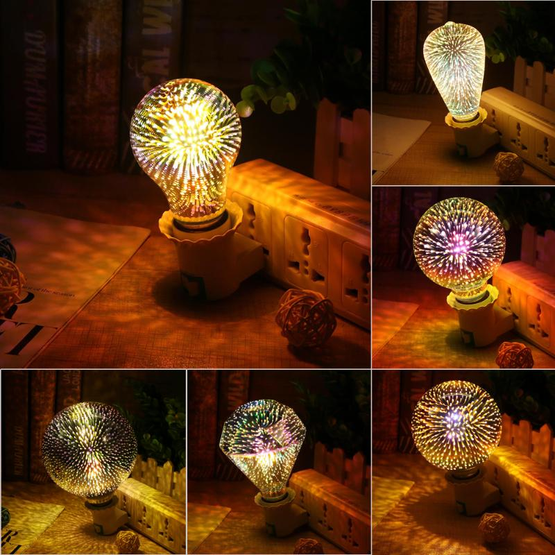 Romantic Colorful 85-265V E27 3D Fireworks Decorative LED Light Bulb Holiday Party Wedding Garden House Illumination Decor Lamp