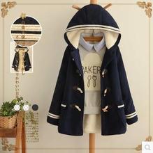 Japanese navy blue cute mori girl kimono doudoune femme fur hoodie chaqueta mujer denim woman thick autumn winter jacket coat