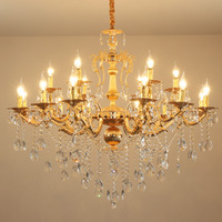 Modern Crystal Chandelier Lighting Candle Bulbs Lustres Golden Chandeliers Hanging Lamp Light for Foyer Lobby Dining Living Room