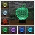 El nuevo apple colorido 3d llevó la lámpara llevada de acrílico de acrílico estéreo y Banco de la Energía de luz Pequeña luz de la noche interruptor del tacto Lámpara de Mesa