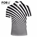 FORUDESIGNS New Casual Polo Shirt Men Fashion Striped Print Short-sleeve Men's Polo Shirt Comfortable Novelty Top Shirt for Male