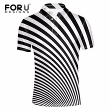 FORUDESIGNS Stylish Men Polo Shirt Striped Printed Short Sleeve Polo for Man Famous Brand Clothing Male Plus Size Spandex Shirts