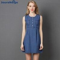 JoursNeige Women Jeans Dress 2017 Spring New Mini High Waist Denim Dress Sleeveless O Neck Pleated Jeans Dresses Women Clothing