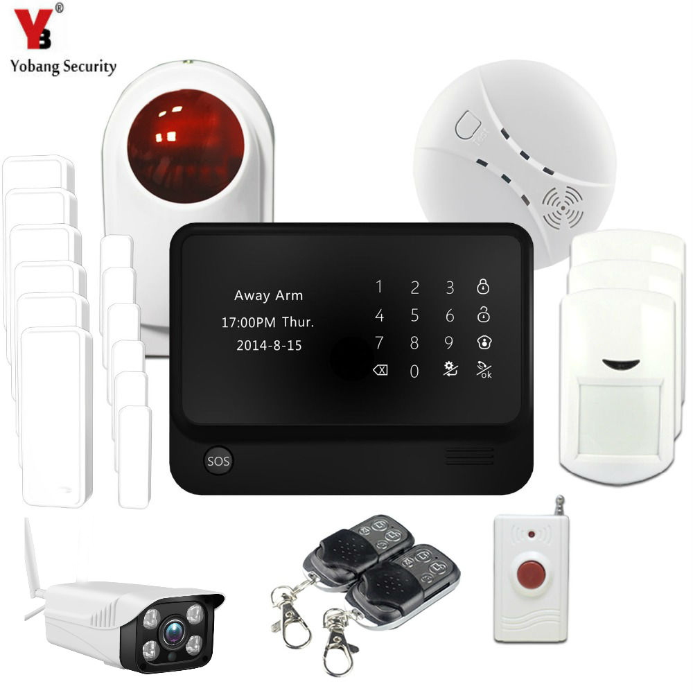 YobangSecurity Home Safety Touch Screen GSM WIFI Wireless Alarm System with Outdoor Wifi IP Camera Strobe Siren Smoke Sensor 868mhz wireless gsm alarm system 7 inch touch screen home alarm with bulit in lithium battery with wireless outdoor solar siren