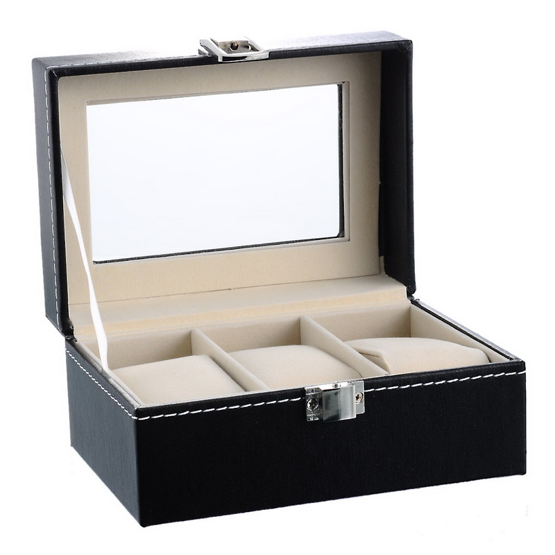 LASPERAL 3 Leather Watch Display Box Jewelry Storage Organizer Case Locked  Boxes Holder With Glass Casket Winder 15.7x11.9x8.2cm In Jewelry Packaging  ...
