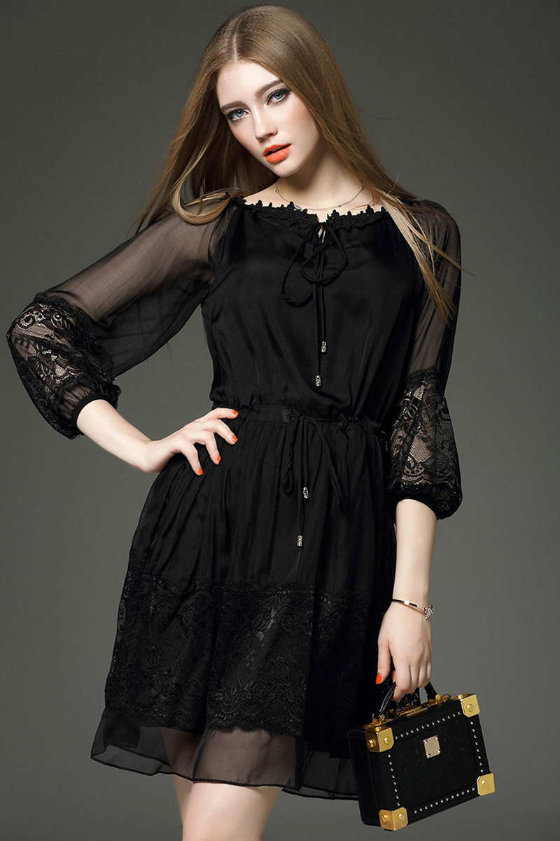 2016 Hot Designer Women S Fashion Summer Style Lace Dresses Office Slim Working Black Dress Lady Y Elegant Size L H901 In From